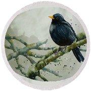 Blackbird Painting Round Beach Towel