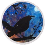 Blackbird Singing Round Beach Towel