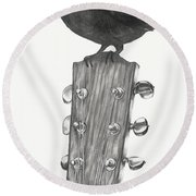 Round Beach Towel featuring the drawing Blackbird Solo  by Meagan  Visser