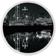 Blackest Night In Big D Round Beach Towel by Frozen in Time Fine Art Photography
