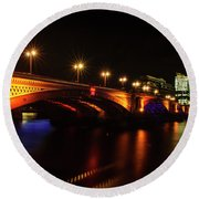 Blackfriars Bridge Illuminated In Orange Round Beach Towel