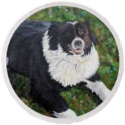 Round Beach Towel featuring the painting Blackie by Marilyn  McNish