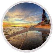 Blackpool Sunset Round Beach Towel by Yhun Suarez