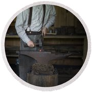 Blacksmith At Work Round Beach Towel by Liane Wright