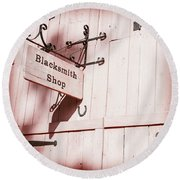 Round Beach Towel featuring the photograph Blacksmith Shop by Alexey Stiop