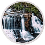 Blackwater Falls, West Virginia Round Beach Towel by Skip Tribby