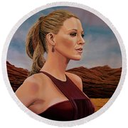 Blake Lively Painting Round Beach Towel by Paul Meijering