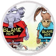 Blame Him Round Beach Towel