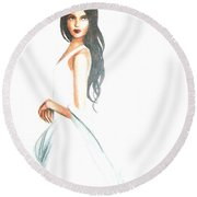 Round Beach Towel featuring the drawing Blanca by MB Dallocchio
