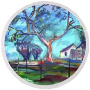 Blanco Texas Ranch House Round Beach Towel