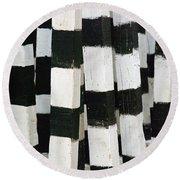 Blanco Y Negro Round Beach Towel by Skip Hunt