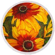 Blanket Flower Round Beach Towel by Lil Taylor