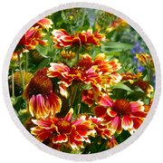 Blanket Flowers Round Beach Towel by Sharon Talson