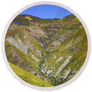 Blanket Of Wildflowers Cover The Temblor Range At Carrizo Plain National Monument Round Beach Towel
