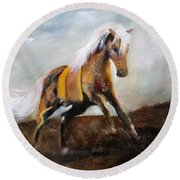 Blanket The War Pony Round Beach Towel by Barbie Batson