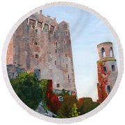 Round Beach Towel featuring the painting Blarney Castle by Lynne Reichhart