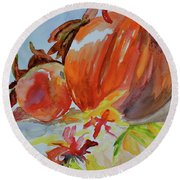 Round Beach Towel featuring the painting Blazing Autumn by Beverley Harper Tinsley