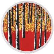 Blazing Birches Round Beach Towel