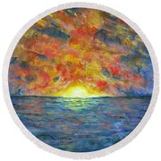 Blazing Glory Round Beach Towel by Laurie Morgan