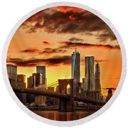 Blazing Manhattan Skyline Round Beach Towel by Az Jackson