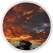Blazing Sunrise Round Beach Towel