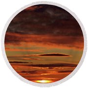 Round Beach Towel featuring the photograph Blazing Sunset by Bryan Carter