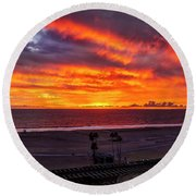 Blazing Sunset Over Malibu Round Beach Towel