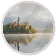 Bled Lake On A Beautiful Foggy Morning Round Beach Towel by IPics Photography