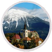 Bled Lake With Snow On The Mountains In Autumn Round Beach Towel