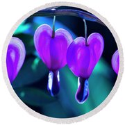 Bleeding Hearts In Moon Light Round Beach Towel by Skip Tribby