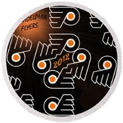 Bleeding Orange And Black - Flyers Round Beach Towel