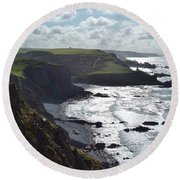 Blegberry Cliffs From Damehole Point Round Beach Towel by Richard Brookes