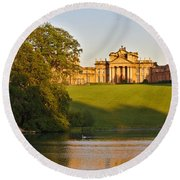 Blenheim Palace And Lake Round Beach Towel