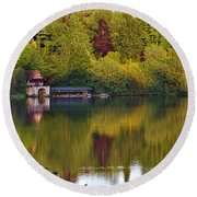 Blenheim Palace Boathouse 2 Round Beach Towel