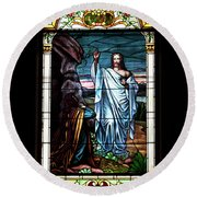 Blessed By Jesus Round Beach Towel