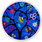 Round Beach Towel featuring the painting Blessed Tree Of Life by Pristine Cartera Turkus
