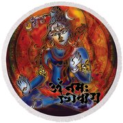 Blessing Shiva Round Beach Towel