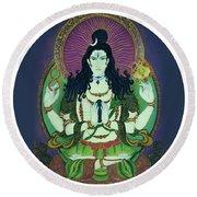 Blessing Shiva Round Beach Towel