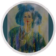 Bleu Femme Fatal Round Beach Towel by Roberto Prusso