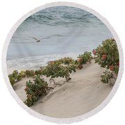 Round Beach Towel featuring the photograph Bliss On A Breeze by Robin-Lee Vieira