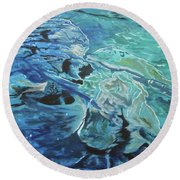 Round Beach Towel featuring the painting Bliss by Stuart Engel