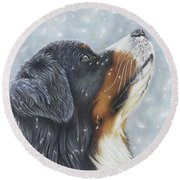 Round Beach Towel featuring the painting Blissful Blue  by Donna Mulley