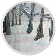 Round Beach Towel featuring the painting Blizzards Over by Jack G Brauer