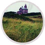 Block Island Light-house Round Beach Towel