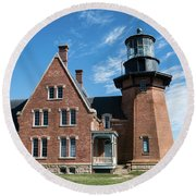 Block Island Southeast Light Historic Lighthouse Round Beach Towel
