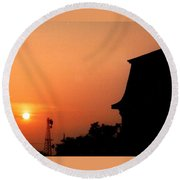 Block Island Sunset Round Beach Towel