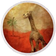 Round Beach Towel featuring the digital art Block's Great Adventure by Lois Bryan