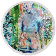 Blond Boy Version 3 Round Beach Towel