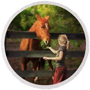 Blond With Horse Round Beach Towel
