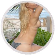Blonde Beach Babe Round Beach Towel